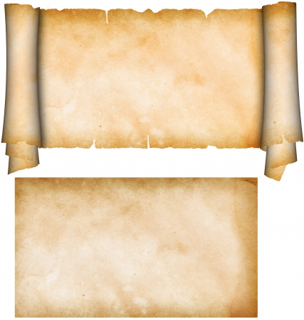 medieval scroll: Scroll of parchment and sheet of old grunge paper  Stock Photo