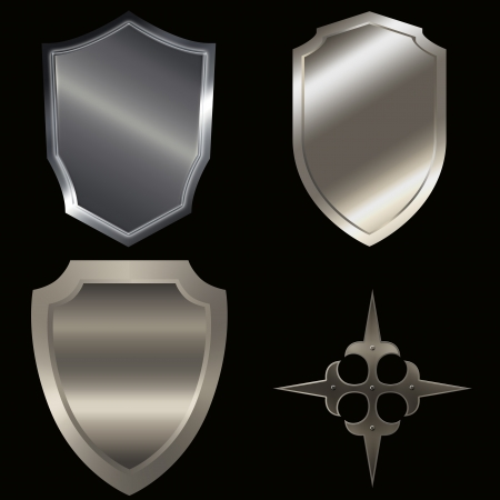 Shield collection on a black background for the design. photo