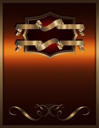 coverbook: Ornato sfondo vintage con cornice dorata e nastri dorati