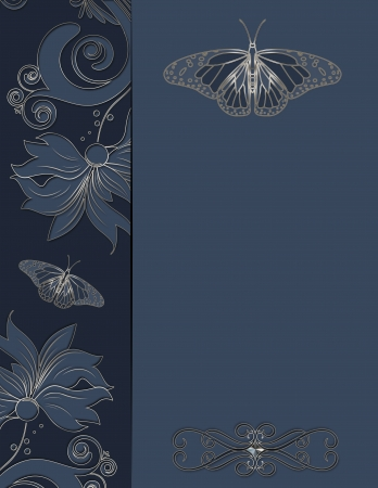 Decorative vintage floral background with butterfly  photo