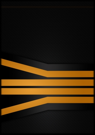 Abstract carbon background with orange strips photo
