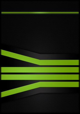 Abstract carbon background with green strips  photo