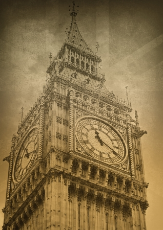 Upper part of the clock tower of Big Ben  photo