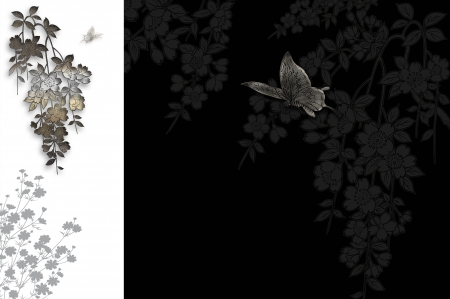 butterflies for decorations: Decorative sfondo floreale con farfalla