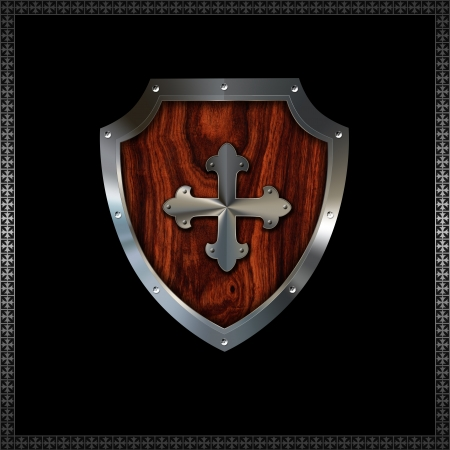 Riveted decorative heraldic shield with wooden insert Stock Photo - 14792446