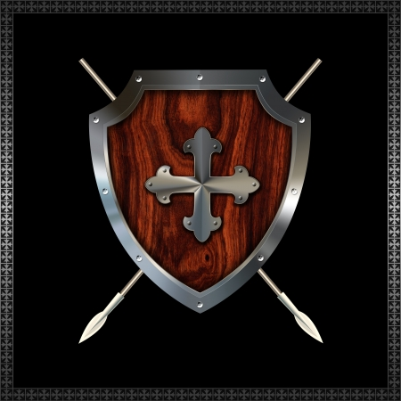 Riveted decorative heraldic shield with wooden insert  Stock Photo - 14792452
