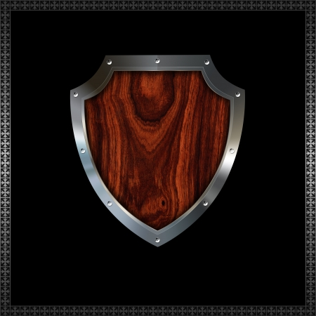 wooden insert: Riveted decorative heraldic shield with wooden insert