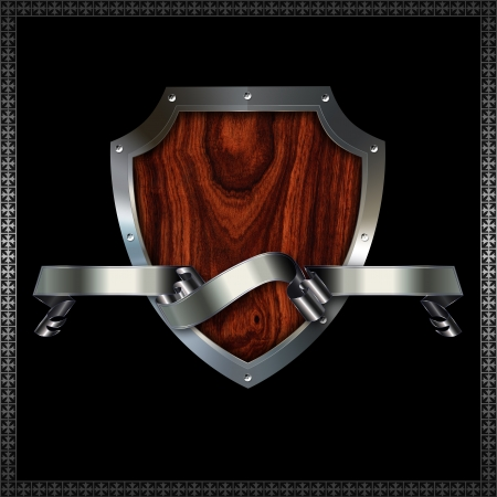 Riveted decorative heraldic shield with wooden insert Stock Photo - 14792453