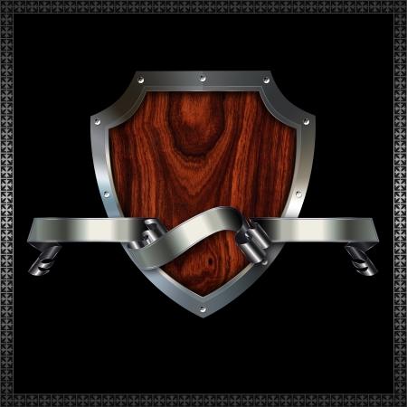insertar: Riveted escudo her�ldico decorativo con inserto de madera Foto de archivo