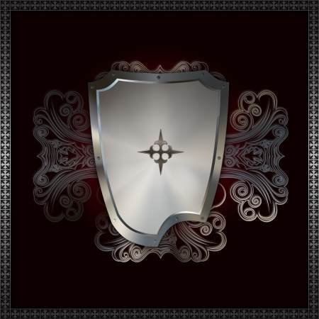 Decorative background with heraldic shield  photo