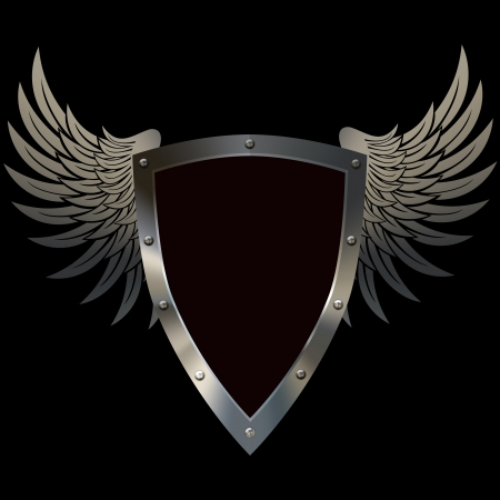 shield with wings: Heraldic riveted shield with wings on a black background