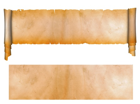 Scroll of antique parchment and sheet of grunge paper  Standard-Bild
