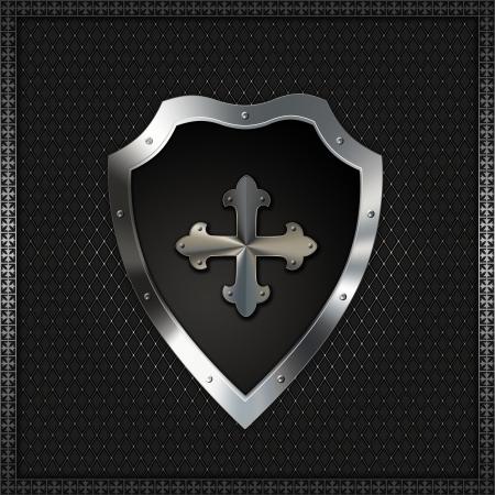 hierro: Escudo con cruz FLORETE Foto de archivo