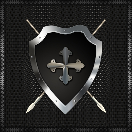 Shield with fleuree cross and spears  Stock Photo - 14792477
