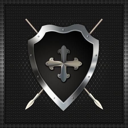 iron cross: Shield with fleuree cross and spears