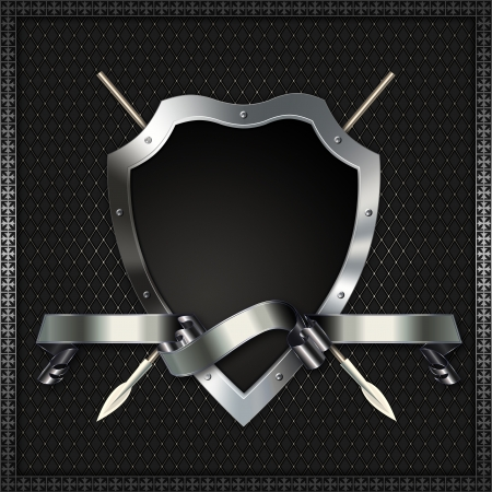 Heraldic shield with spears and ribbon Stock Photo - 14792474