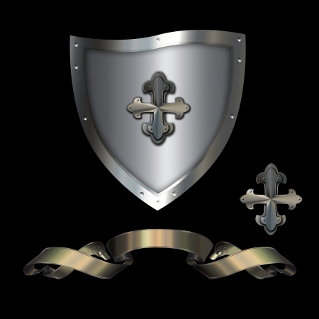maltese: Heraldic shield with golden ribbon and maltese cross on a black background