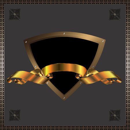 Decorative shield with golden ribbon  photo