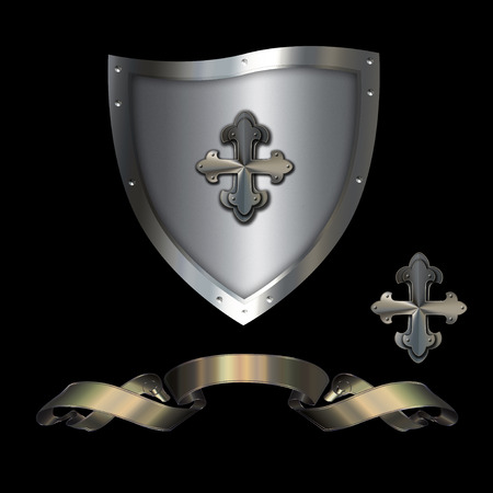 iron cross emblem: Heraldic shield with golden ribbon and maltese cross on a black background