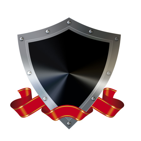 Abstract shield with red ribbon on a white background. photo