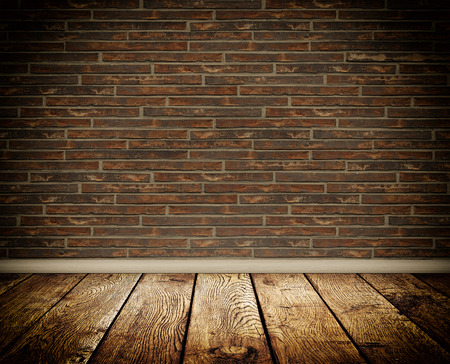 Background of bricks wall and wooden floor for decoration  photo