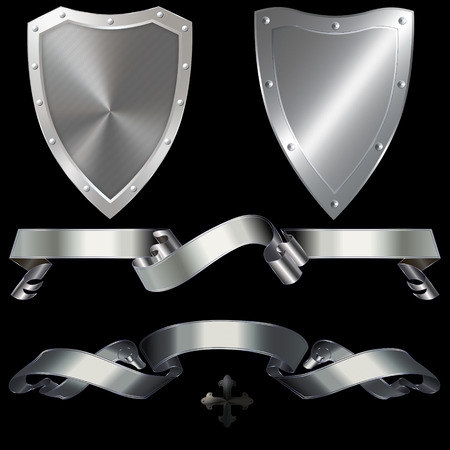 Two shields and two ribbons on a black background. photo