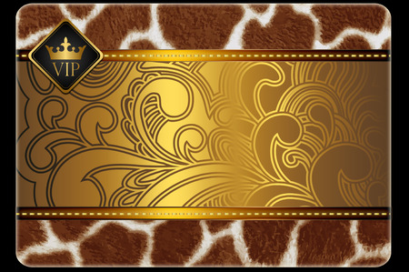 VIP credit card template.Golden style. photo