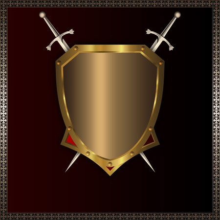 Gold medieval shield and two swords for the design. photo