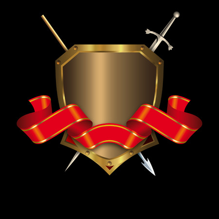 Medieval gold shield with spear and sword on a black background. photo