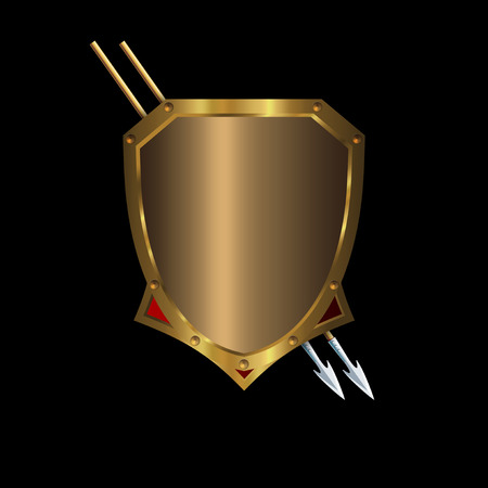 Gold medieval shield with two spears on a black background.