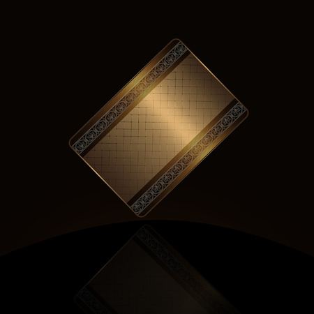comercial: Gold business card on a black background. Stock Photo