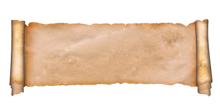 grunge banner: Ancient scroll of parchment on a white background.