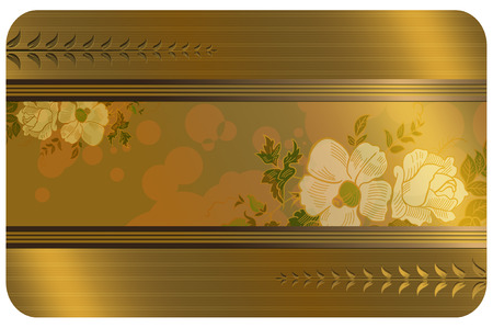 Business or gift card template.Gold style. photo