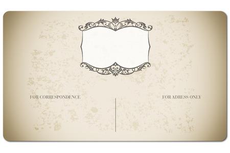 correspond: Old postcard with decorative vintage pattern. Vintage postcard.