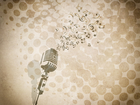 notes paper: Grunge background with music image.