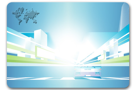 Business card template. Abstract airplane and map background for the design. photo