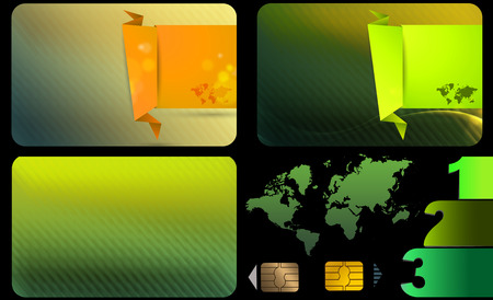 Business card template set. Green abstract background and elements on a black background. photo