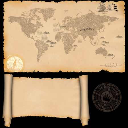 Medieval parchment and ancient map on a black background. photo