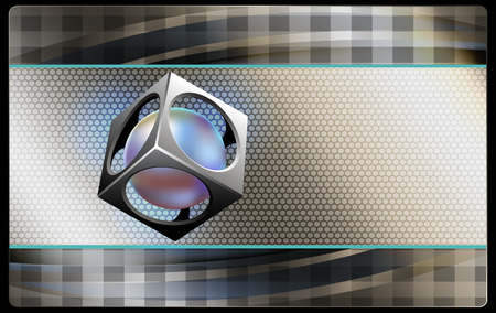 Business card template. Abstract background with cube and sphere inside. photo