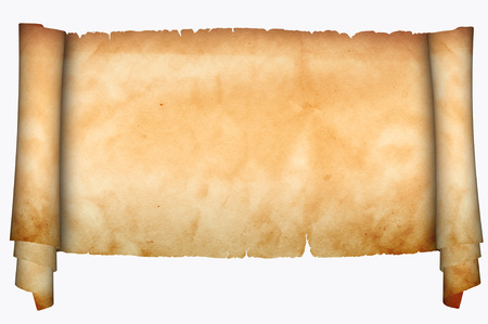 Medieval scroll of parchment on a white background. photo