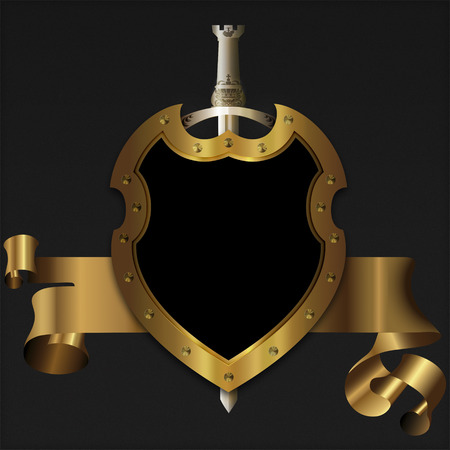 Gold medieval shield with sword and gold banner for the design. photo