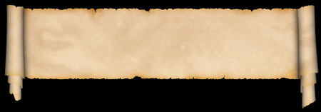 Medieval scroll of parchment on black background. photo