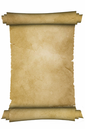 ancient paper: Scroll of medieval parchment on white background.