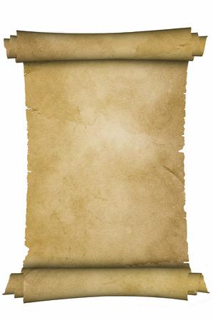 Scroll of middeleeuwse perkament op een witte achtergrond. Stockfoto