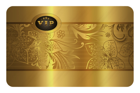 Gold business card template. Gold floral background for the design of your business card.