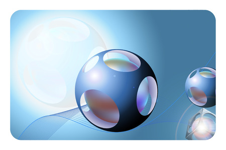 Blue background with abstract sphere for the design. photo