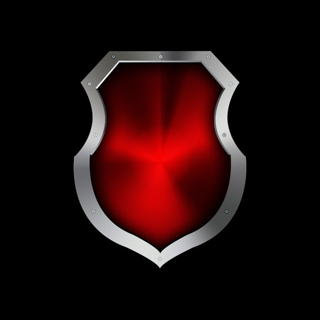 riveted: Medieval red riveted shield on black background.