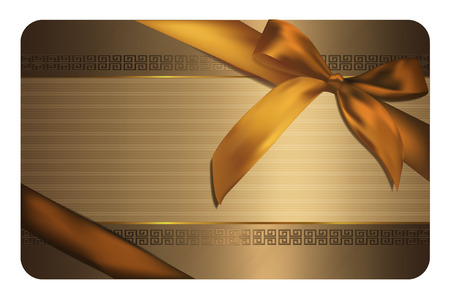 Gold gift card template. Gold background with gold ribbon for the design of your gift or business card.