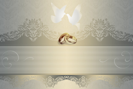 Template of wedding invitation card with white doves and gold rings.