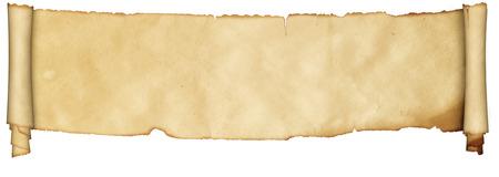 Scroll of middeleeuwse perkament op een witte achtergrond.